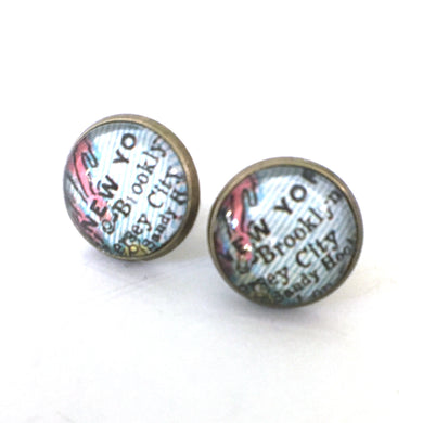 Earrings - New York Vintage Map Post Earrings