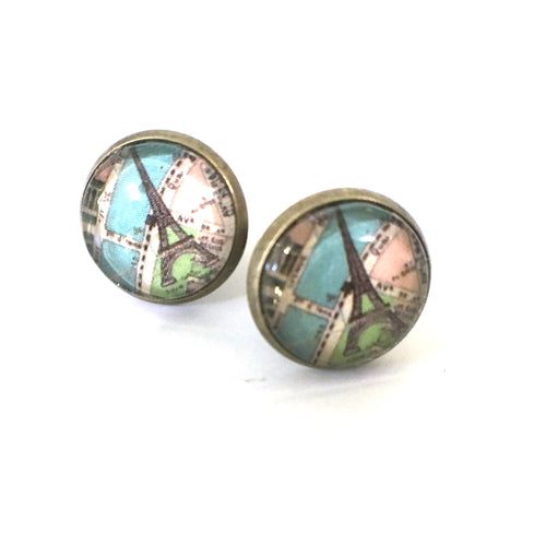 Earrings - Paris Vintage Map Post Earrings