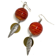 Load image into Gallery viewer, Earrings - Red Glass Striped Beaded Dangle Tribal Earrings