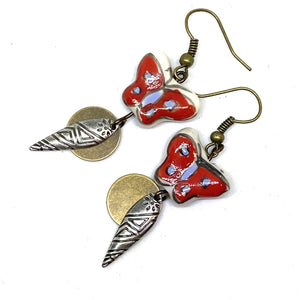 Earrings - Red Hand Painted Butterfly Earrings
