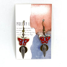 Load image into Gallery viewer, Earrings - Red Hand Painted Butterfly Earrings