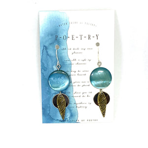 Earrings - Simple Teal Beaded Dangle Earrings