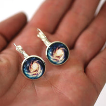 Load image into Gallery viewer, Earrings - Spiral Galaxy 14mm Glass Dome Dangle Earrings