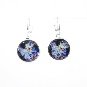 Earrings - Super Nova 10mm Glass Dome Cabochon Post Earrings // Gift Under $25