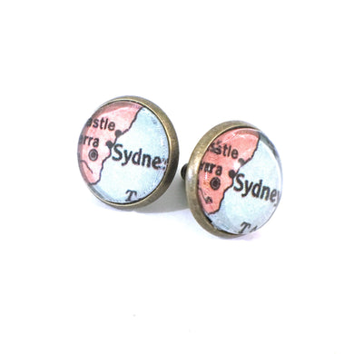 Earrings - Sydney Vintage Map Post Earrings