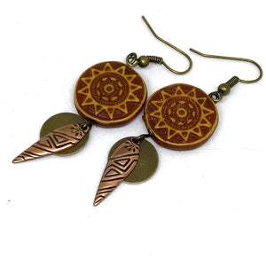 Earrings - Tribal Sun Beaded Dangle Earrings