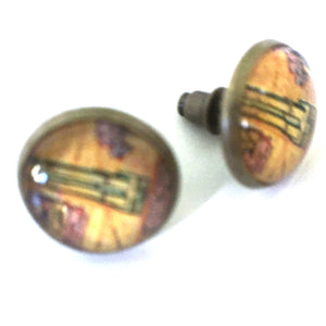 Earrings - Vintage Map Post Earrings
