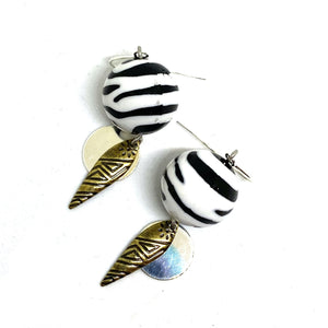 Earrings - Zebra Tribal Dangle Earrings