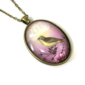 "Necklace - Begin Bird - Bird Pendant From Antique Bronze Chain - Simple Statement Necklace - 24"" Long - Papersonal - Clay Space"