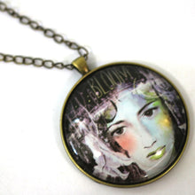 "Load image into Gallery viewer, Necklace - Bloom - Diva Pendant From Antique Bronze Chain - Simple Statement Necklace - 30"" Long - Papersonal - Clay Space"