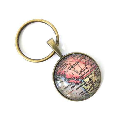 Necklace - British Columbia Vintage Map Small Pendant