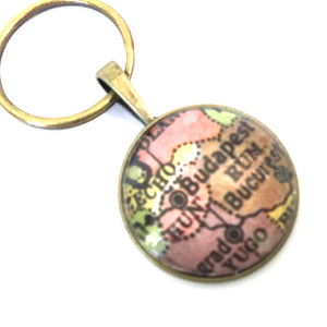 Necklace - Budapest Vintage Map Small Pendant