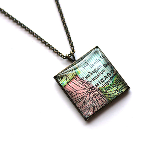 Necklace - Chicago Vintage Map Small Square Pendant