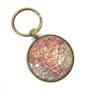Necklace - India Vintage Map Large Pendant