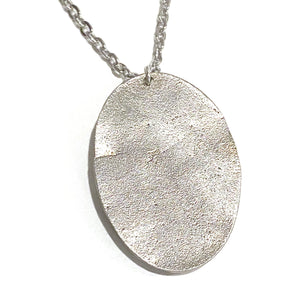 Necklace - Lucerne Steel Oval Pendant