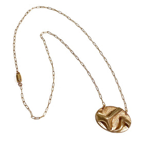 Necklace - Morgan Rose Bronze Oval Pendant