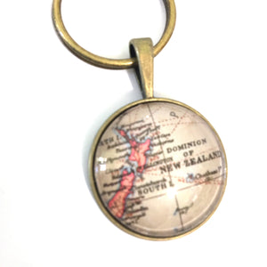 Necklace - New Zealand Vintage Map Small Pendant