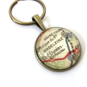 Necklace - Paris Subway Vintage Map Small Pendant