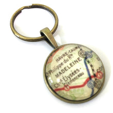 Load image into Gallery viewer, Necklace - Paris Subway Vintage Map Small Pendant
