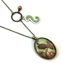 "Load image into Gallery viewer, Necklace - Peacock - Bird Pendant From Antique Bronze Chain - Simple Statement Necklace - 24"" Long - Papersonal - Clay Space"