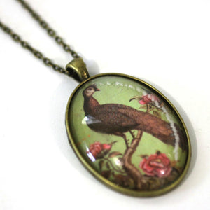 "Necklace - Peacock - Bird Pendant From Antique Bronze Chain - Simple Statement Necklace - 24"" Long - Papersonal - Clay Space"