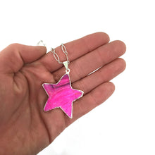 Load image into Gallery viewer, Necklace - Pink Natural Drusy Star Pendant On Silver Plated Chain
