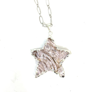 Necklace - Pink Natural Drusy Star Pendant On Silver Plated Chain