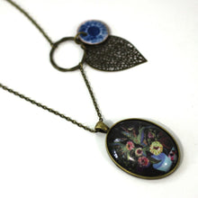 "Load image into Gallery viewer, Necklace - Pot Of Flowers - Bird Pendant From Antique Bronze Chain - Simple Statement Necklace - 24"" Long - Papersonal - Clay Space"