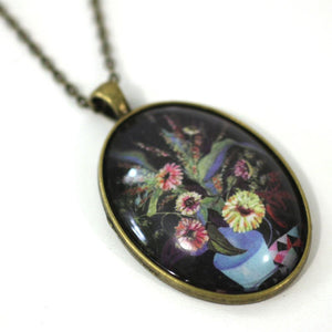 "Necklace - Pot Of Flowers - Bird Pendant From Antique Bronze Chain - Simple Statement Necklace - 24"" Long - Papersonal - Clay Space"