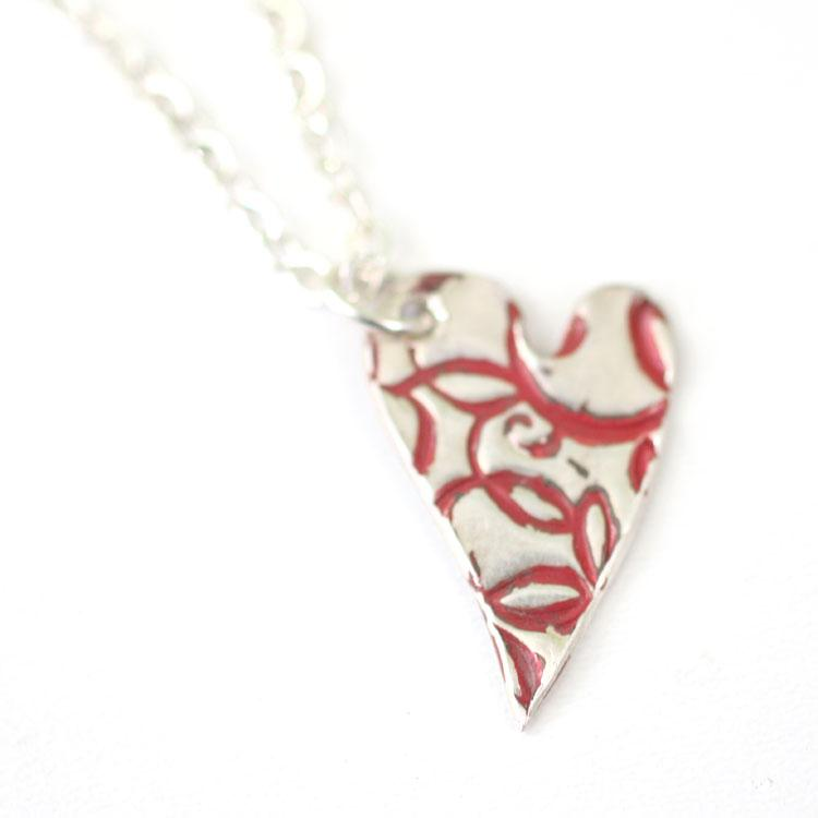 Necklace - Red Flourish Heart Pendant // Artistic Style Heart Pendant // Perfect Gift For Her