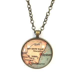 Necklace - Sydney Vintage Map Large Pendant