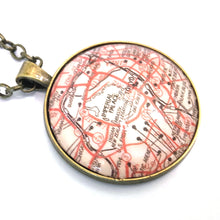 Load image into Gallery viewer, Necklace - Tokyo Vintage Map Large Pendant