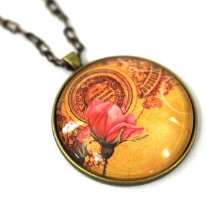 "Necklace - Vintage Rose - Flower Pendant On Antique Bronze Chain - Simple Statement Necklace - 30"" Long - Papersonal - Clay Space"