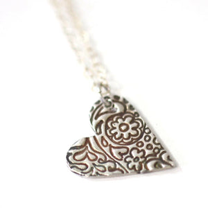 Necklace - Zentangle Heart Pendant // Artistic Style Heart Pendant // Perfect Gift For Her