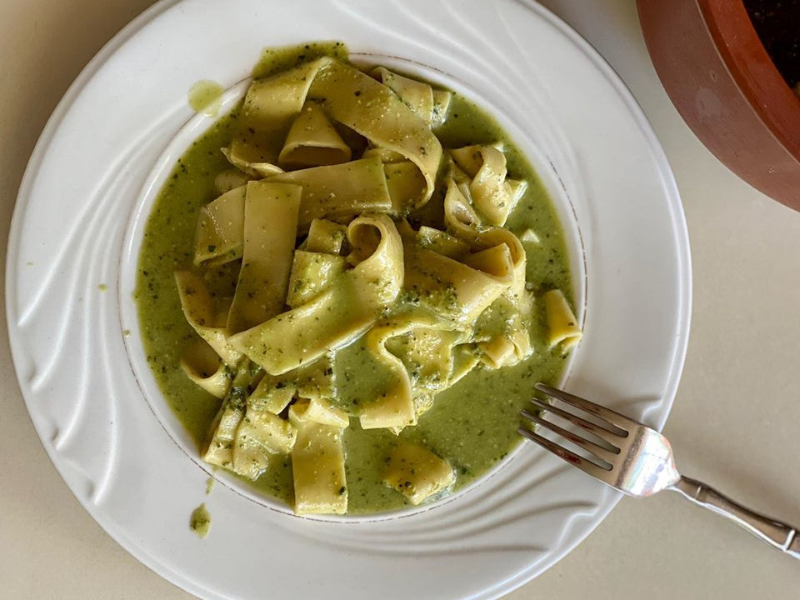 College Student Meal- Pesto Pappardelle Pasta Made in VitaClay for 20 minutes!