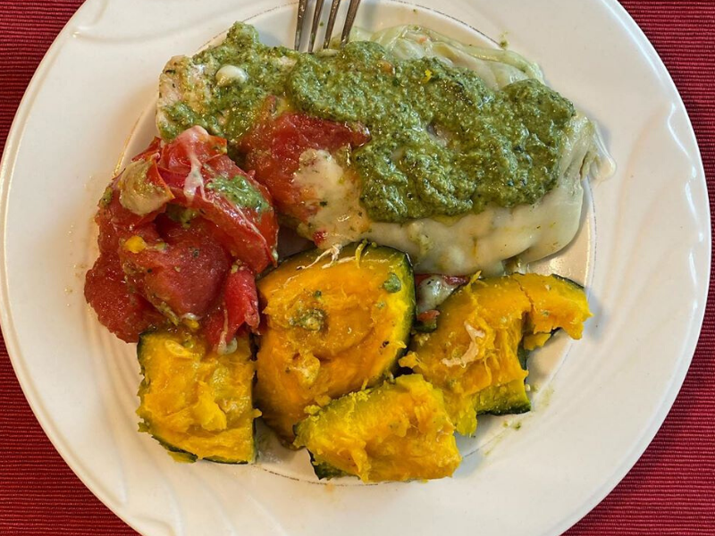 Easy Cheesy Pesto Chicken in Homemade Pesto Sauce