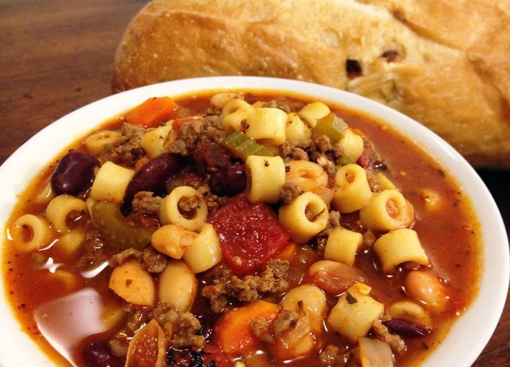 Veggie Mushroom Pasta Fagioli Soup: Great for a Working Lunch!