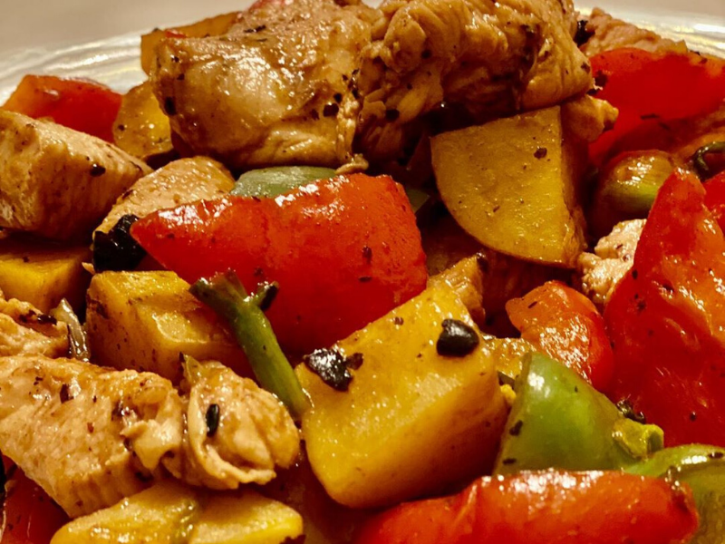 VitaClay Slow-Cooker Latin Chicken with Black Beans and Sweet Potatoes