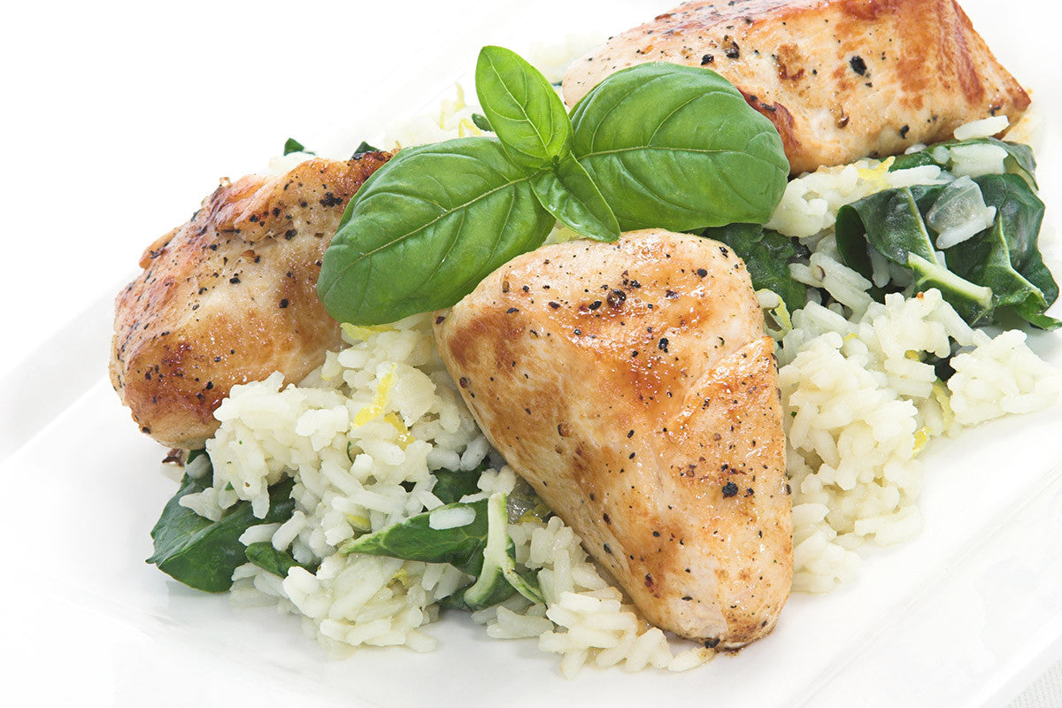 Basil Chicken Spinach Rice (or Orzo) One Pot Meal with Olives