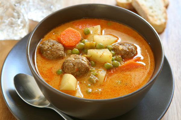 Quick and Easy Meatball Soup—Simmering All Day in Your Clay Pot!