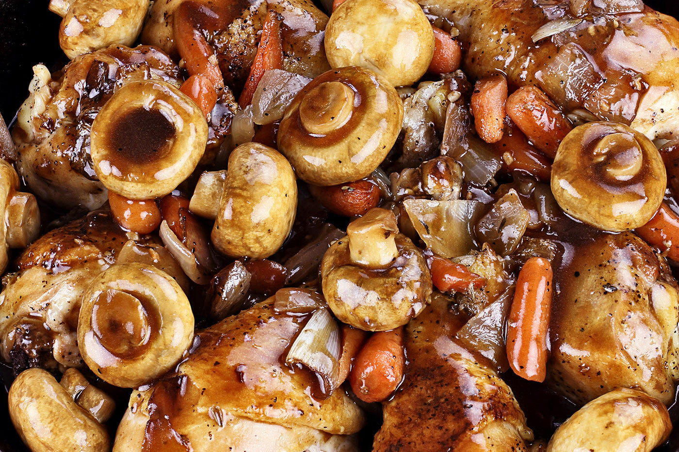 Coq au Vin French Chicken Stew in Red Wine Sauce