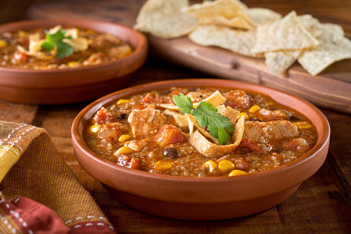 Yummy Chicken Tortilla Soup in Clay: for the Snow-Bound!