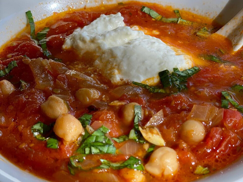 SPANISH CHICKPEA SOUP Swimming in Lots of Rich Tomato Sauce that is Vegan and Gluten-Free!
