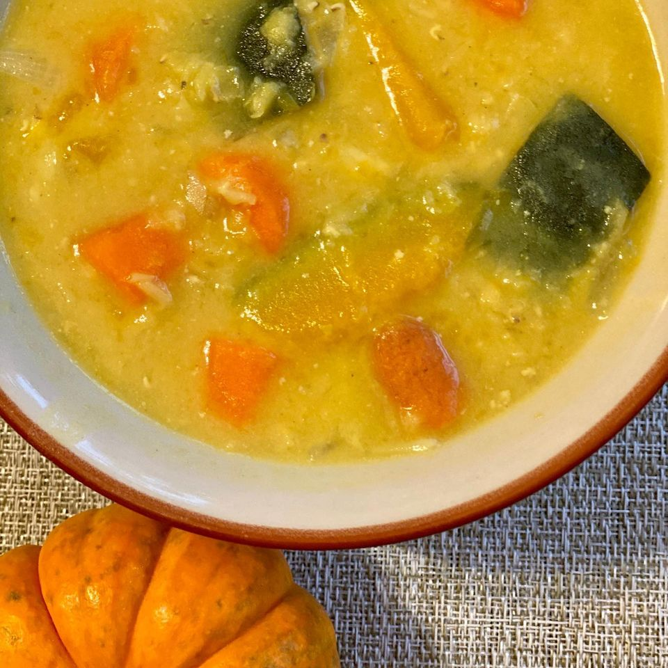 Red Lentil Kabocha Squash Carrot Soup in Coconut Curry