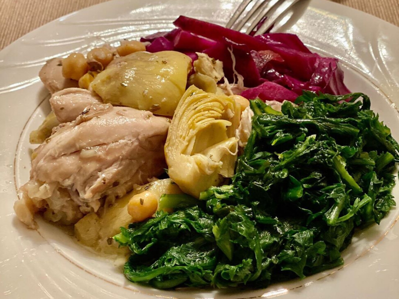 Paleo Artichoke Chicken with Pickled Purple Cabbage and Dark Greens