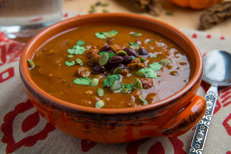 Spicy Black Bean Soup with Chorizo