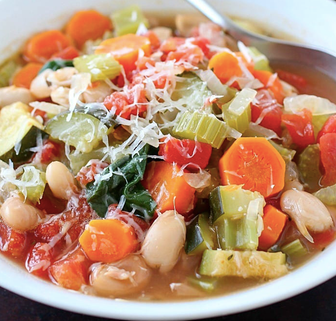 Quick and Easy Nourishing Tuscan Vegetable Soup in Instant Clay Crock Pot Slow Cooker