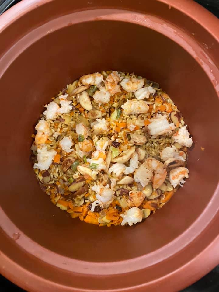 Brown Rice Shrimp Pilaf One Pot Meal in VitaClay Rice Slow Cooker