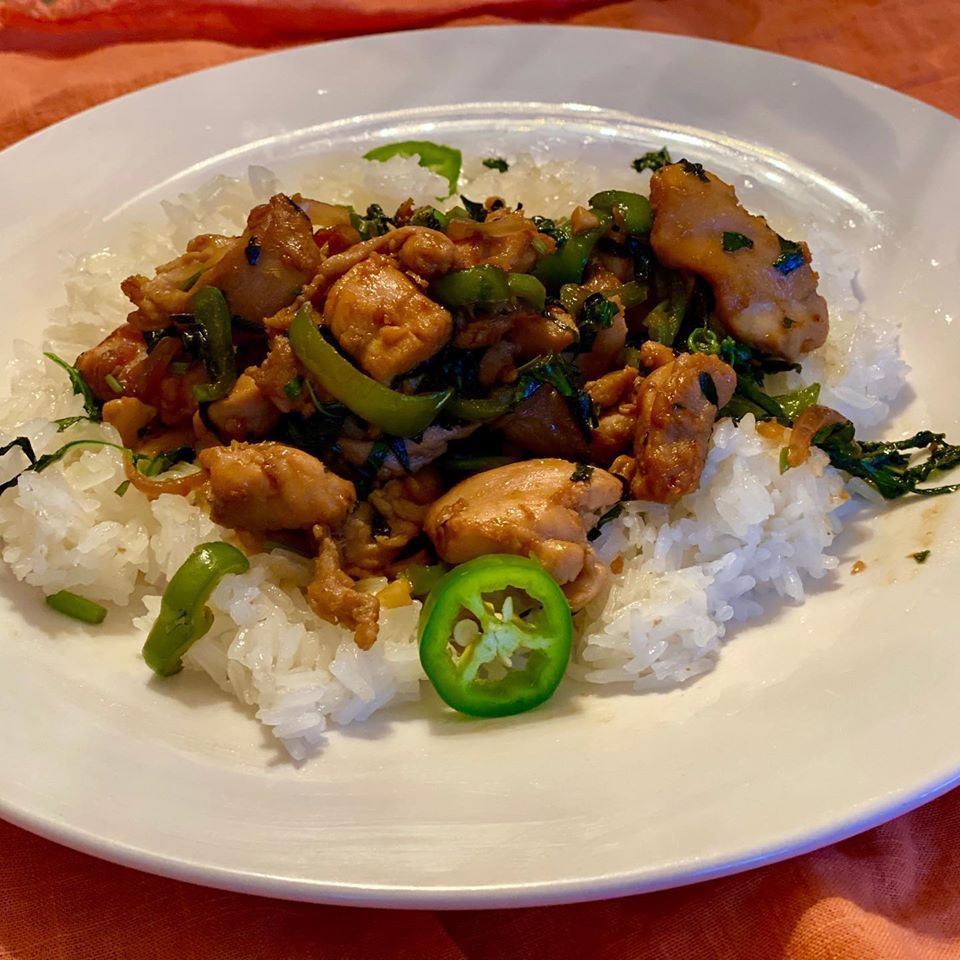 Anti-Inflammatory Spicy Flavorful Thai Basil Chicken Served Over Sticky Rice