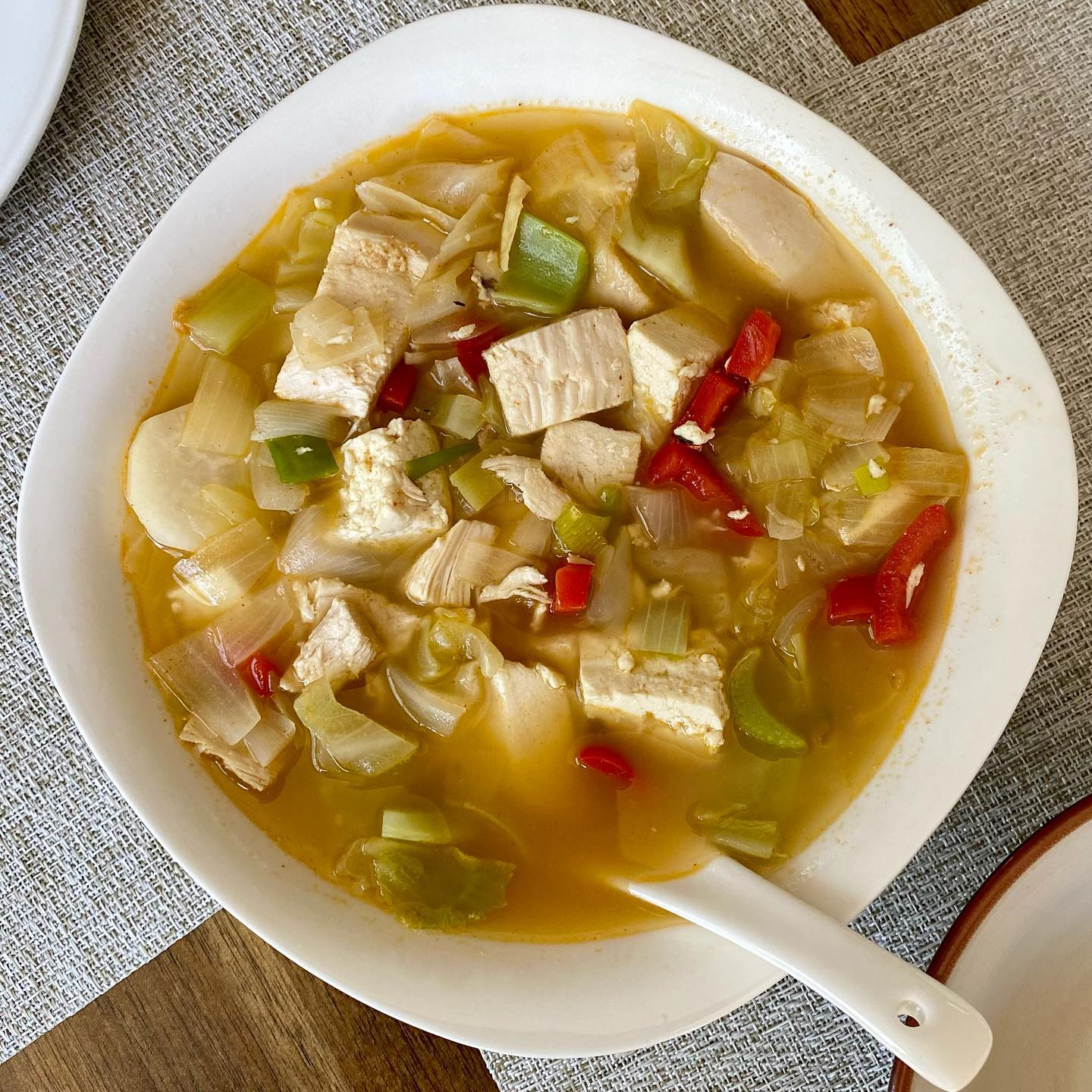 Keto Low-Carb Tofu Cabbage Soup in Homemade Bone broth